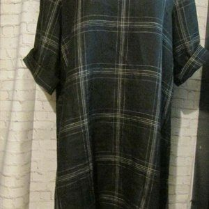 Eileen Fisher Organic Black Plaid Linen Tunic Shif